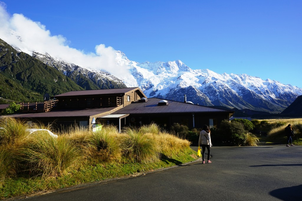At the town in front of Mt. Cook